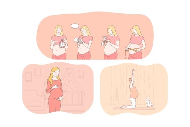 Gravidanza, maternità, attesa per il parto e il concetto di bambino. fumetto di giovani donne incinte felici Vettore Premium