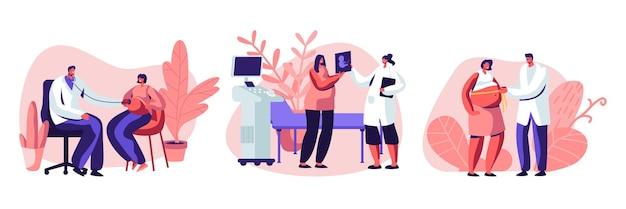 Personaggi femminili incinti all'appuntamento del medico. insieme dell'illustrazione piana del fumetto Vettore Premium