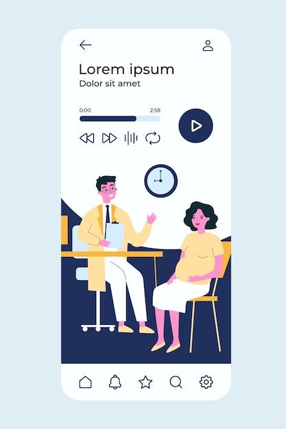 Donna incinta consulto medico nel suo ufficio. Vettore Premium