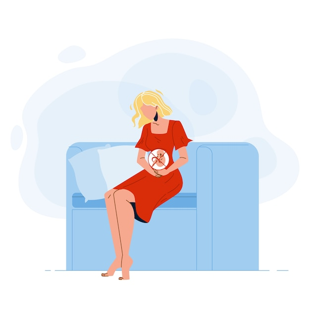 Giovane donna incinta pensa all'aborto Vettore Premium