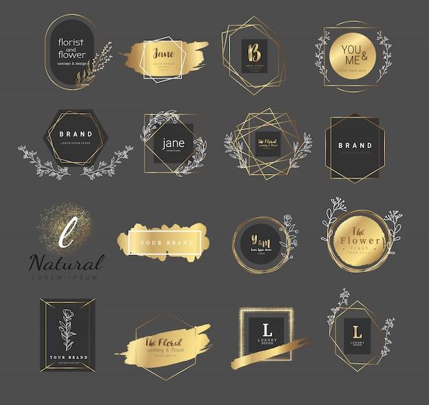 Modelli di logo floreali premium per matrimonio e prodotto Vettore Premium
