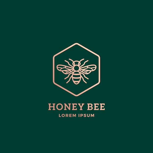 Premium honey bee astratto segno, simbolo o modello di logo. Vettore Premium