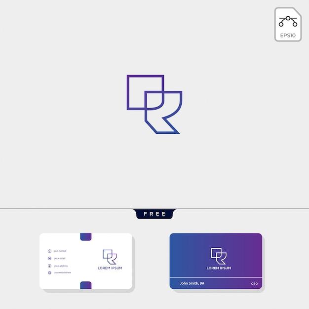 Premium iniziale r, modello di logo creativo contorno rr, modello di biglietto da visita Vettore Premium