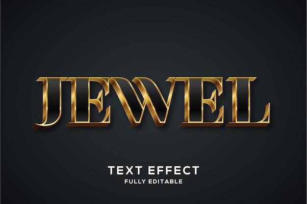 Effetto di stile di testo 3d nero e oro di lusso premium Vettore Premium