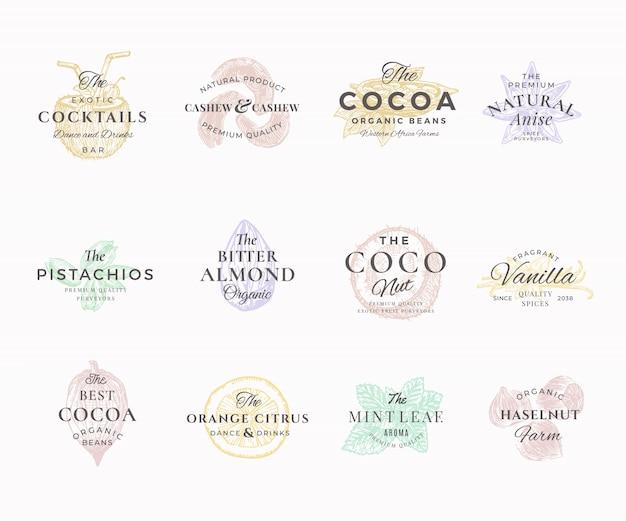 Set di etichette eleganti di qualità premium noci, frutta e spezie. segni astratti, simboli o modelli di logo. schizzi di cibo disegnati a mano con tipografia retrò. emblemi di lusso vintage. Vettore Premium