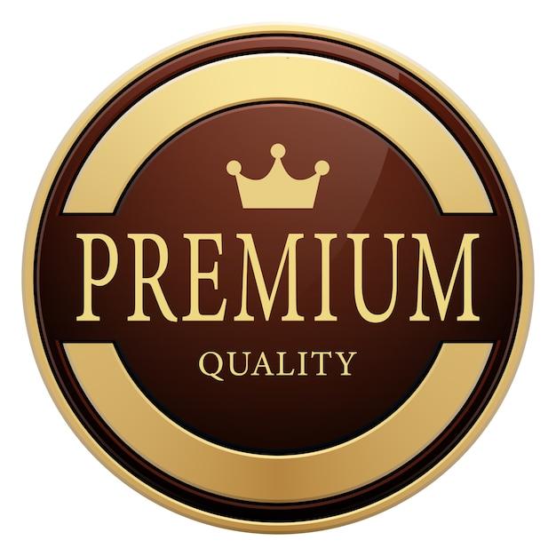 Distintivo di qualità premium corona logo rotondo metallico dorato lucido marrone Vettore Premium