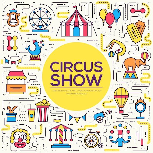 Set di infografica icone di contorno di circo di qualità premium Vettore Premium