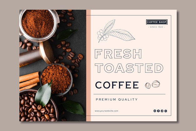 Banner di caffè di qualità premium Vettore Premium