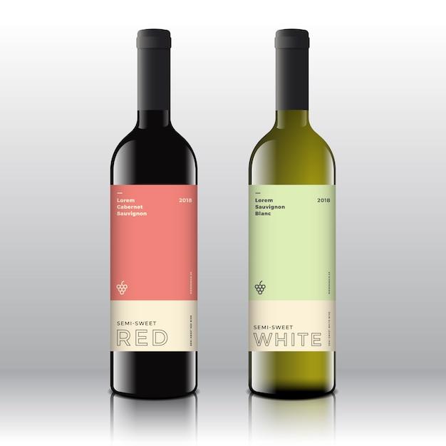 Etichette di vino rosso e bianco di qualità premium impostate sulle bottiglie realistiche. minimalista pulito e moderno con tipografia minimale elegante. Vettore Premium