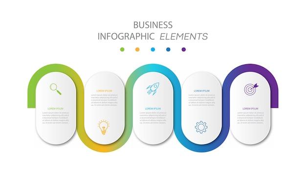 Modello di infografica aziendale di presentazione con 5 opzioni Vettore Premium