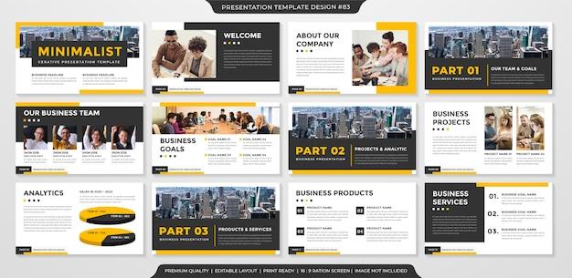 Modello di layout di presentazione con uno stile pulito Vettore Premium
