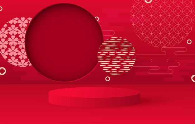 Podio di presentazione. lanterne d'attaccatura della priorità bassa festiva, modelli. supporto rotondo rosso. Vettore Premium