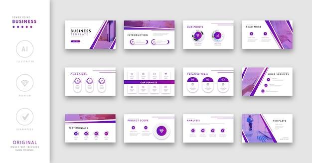 Modello di presentazione per stile minimalista viola colore aziendale. Vettore Premium