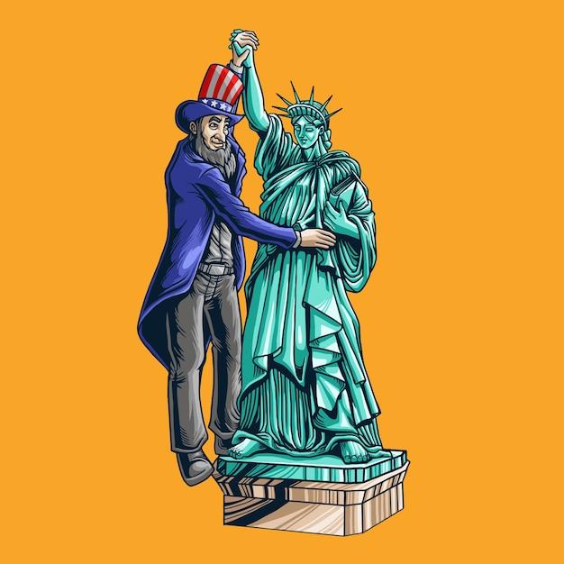 Giorno del presidente danza con la statua della libertà Vettore Premium