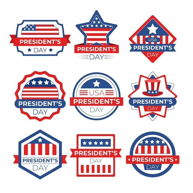 Collezione di badge per eventi del giorno del presidente Vettore Premium