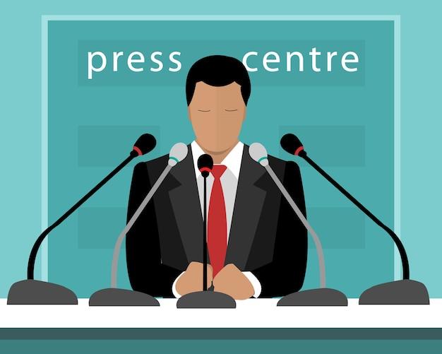 Di conferenza stampa con un relatore. illustrazione di un uomo senza volto con microfoni che parlano alla stampa. Vettore Premium