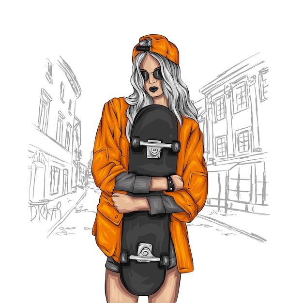 Belle ragazze in top e pantaloncini con lo skateboard. Vettore Premium
