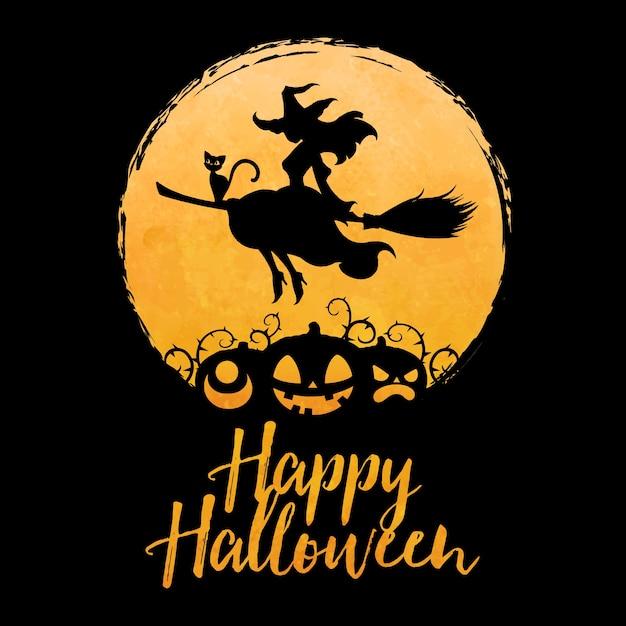 Strega graziosa che vola sulla scopa con il gatto contro la luna piena e la siluetta della zucca del fronte, illustrazione felice di concetto di saluto di halloween Vettore Premium