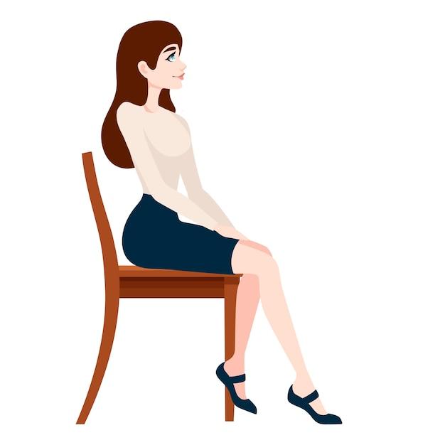 Bella donna in abiti d'affari che si siede sulla sedia di legno Vettore Premium
