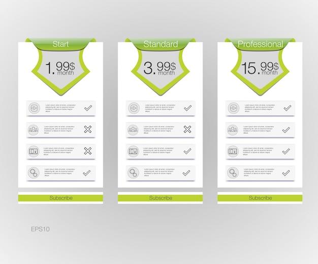Listino prezzi. tre banner tariffari. tabella dei prezzi web. per l'app web. Vettore Premium