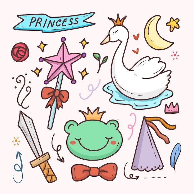 Principessa carino doodle cartone animato disegno adesivo impostato con cigno Vettore Premium