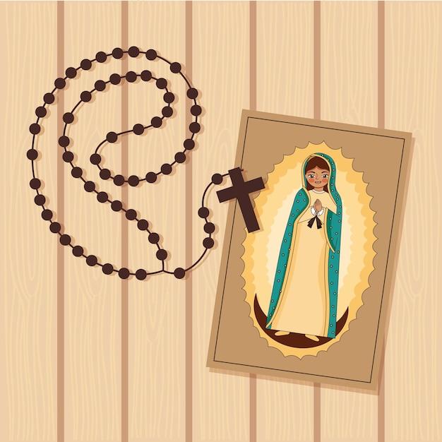 Stampa della vergine di guadalupe con santo rosario su legno Vettore Premium