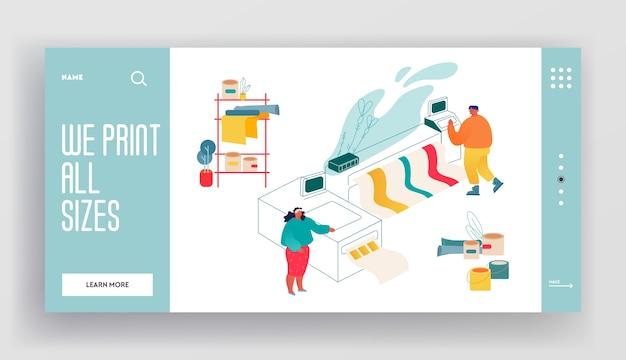 Pagina di destinazione del sito web del centro servizi di tipografia o tipografia. uomo e donna che lavorano con la stampante a getto d'inchiostro offset widescreen. Vettore Premium