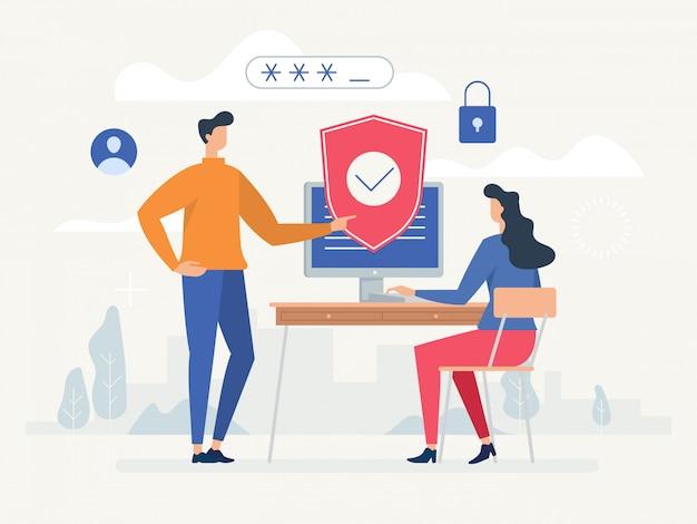 Politica sulla riservatezza. proteggi la tua privacy. Vettore Premium