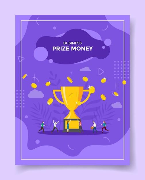 Persone di concetto di denaro premio intorno alla caduta di denaro grande trofeo Vettore Premium