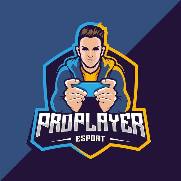 Design del logo del gioco esport pro player Vettore Premium