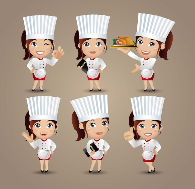 Professione - chef con pose diverse Vettore Premium