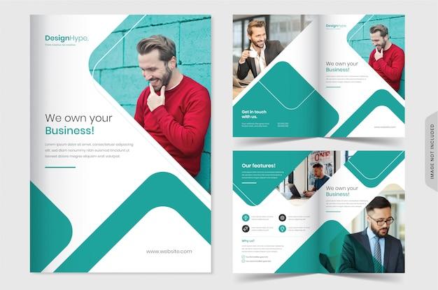Modello di brochure professionale bi business piega Vettore Premium