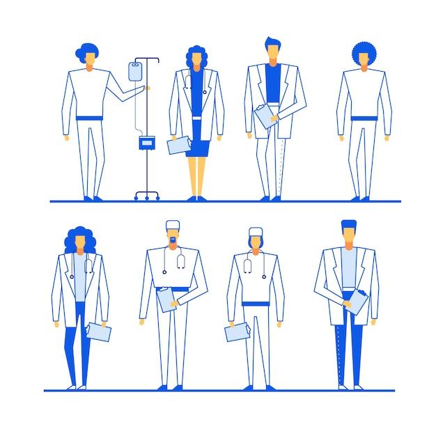 Gruppo di caratteri del personale medico professionale Vettore Premium