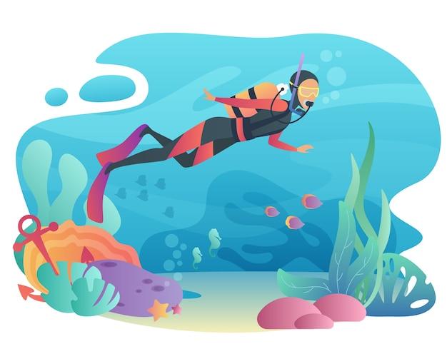 Professional scuba diver uomo si tuffa nell'oceano. nuoto subacqueo. concetto di vacanza estiva di vacanze attive sportive. Vettore Premium