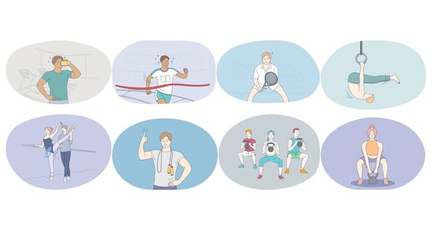 Sport professionale, allenamento, concetto di formazione. Vettore Premium