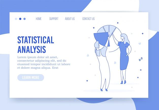 Pagina di destinazione di analisi statistiche professionali Vettore Premium