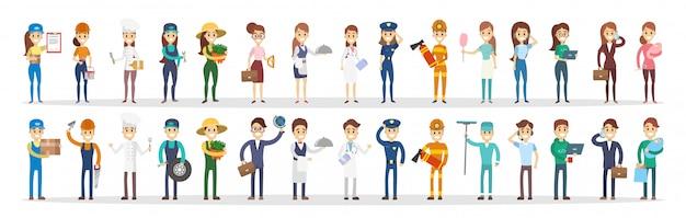 Set di coppie di professioni. uomini e donne di diversi tipi. Vettore Premium