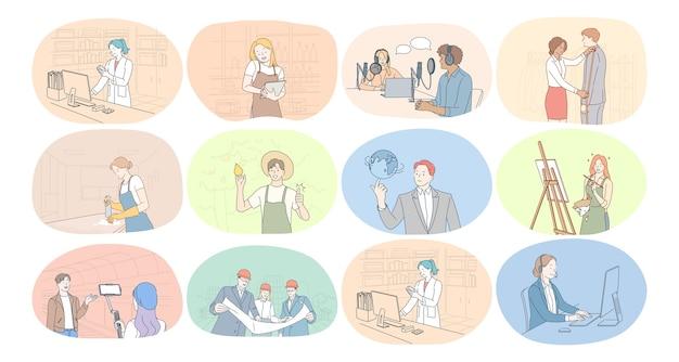 Professioni, occupazione, lavoro, lavoro, manodopera, concetto di affari. Vettore Premium