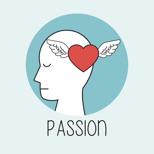Profila la passione della testa umana Vettore Premium