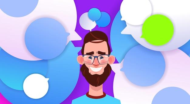 Profilo nuova idea chat supporto bolle backgroung maschio emozione avatar uomo fumetto icona ritratto sorriso barba viso illustrazione vettoriale Vettore Premium