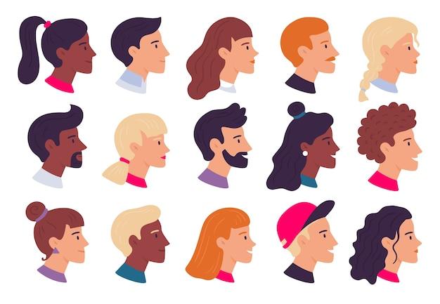 Ritratti di persone del profilo. avatar di profili di volti maschili e femminili, ritratto laterale e teste. persona avatar utente web, ritratto di carattere hipster. set di icone illustrazione vettoriale piatto isolato Vettore Premium