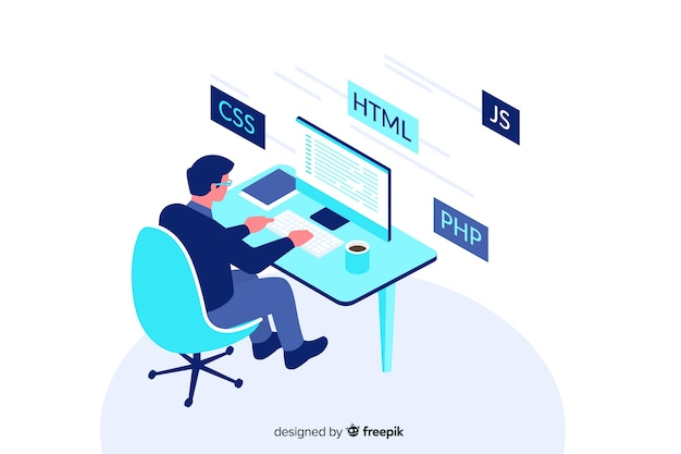 Progettazione isometrica dell'illustrazione decorativa del programmatore Vettore Premium