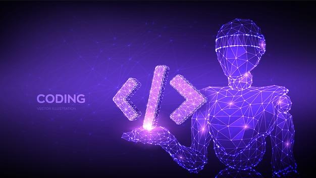 Icona del codice di programmazione. robot astratto che tiene il simbolo del codice di programmazione in mano. sfondo di codifica. Vettore Premium