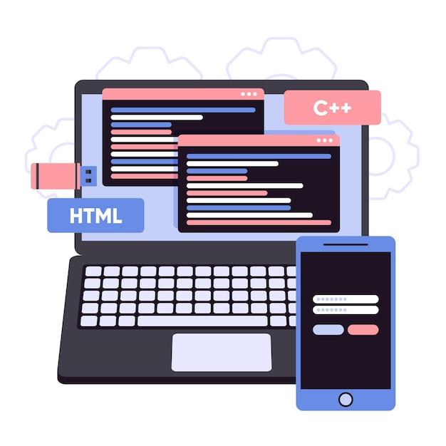 Codici di programmazione sullo sviluppo di app per laptop Vettore Premium