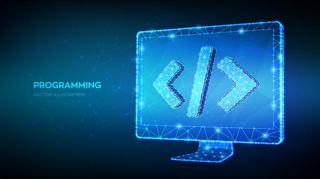 Concetto di programmazione. monitor del computer poligonale basso astratto con il simbolo del codice di programmazione. codifica o sfondo di hacker. sviluppo e concetto di software. Vettore Premium