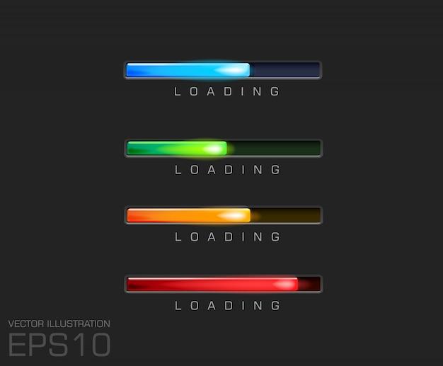 Barra di avanzamento e caricamento di diversi colori su file di sfondo nero. Vettore Premium