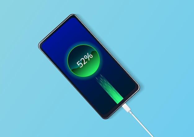 L'avanzamento della ricarica della batteria della vista dall'alto del telefono. Vettore Premium