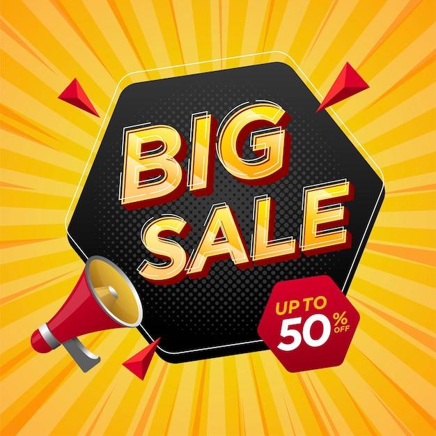 Banner di etichetta di grande vendita di promozione Vettore Premium