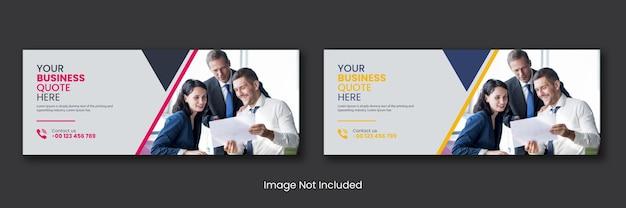 Agenzia di affari aziendali promozionali social media post pagina di copertina di facebook timeline online web Vettore Premium