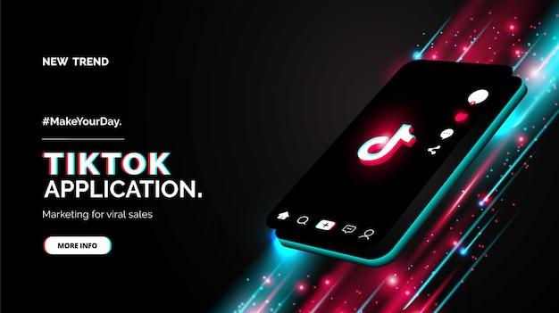 Design promozionale per il tuo nuovo account tiktok Vettore Premium